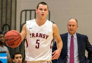 Transy Coach Brian Lane watches Alex Jones, a senior guard on the Pioneers' all-Kentucky roster. The St. Xavier grad leads Transy in scoring and assists. (Transy photo)