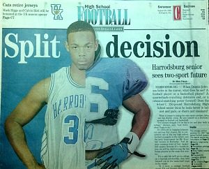 As a senior at Harrodsburg, Dennis Johnson wasn't sure if he wanted to play college football or basketball ... or both. (Herald-Leader photo)
